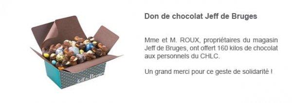 Don de chocolat Jeff de Bruges