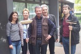 Valérie ROUGET (Ergothérapeuthe), Laurence MERCUZOT ( Infirmière), Bernard SAINT-LOUP (Psychologue à la retraite), Alain VASSEUR et Didier GASNIER (Cadre de santé à la Maison Matisse)
