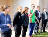 Mary CHAPPE et Camille LERCH joueuses au Dijon Football Côte d'Or Féminin (DFCO) Emilie HONIAT – Educatrice en activité physique adaptée olivier peillard  – Cadre de santé référent de l'Equipe de Sport Adapté Florent Martin – Infirmier référent de l'Equipe de Sport Adapté Jean-Yves Pian – Président du Conseil de Surveillance du CH La Chartreuse, Bruno MADELPUECH – Directeur,