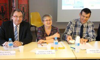 Henri Mazue – Président Maison des Parents, Gislaine Vachon – Cadre de santé CHU Dijon. Stéphane Bruant – CHU Dijon,