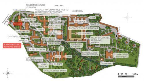 Plan des structures du Centre Hospitalier La Chartreuse