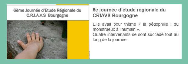 6e journée d'étude régionale du CRIAVS Bourgogne