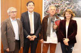 Dr Gérard MILLERET, Président de la CME, Bruno MADELPUECH, Directeur du CHLC Dijon, Dr Jean-Claude GIROD, Chef du Pôle A du CHLC Dijon et Anne-Catherine LOISIER, Sénatrice de Côte-d'Or.
